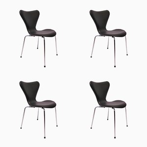 Model 3107 Seven Chairs in Black Leather by Arne Jacobsen for Fritz Hansen, 1980s, Set of 4