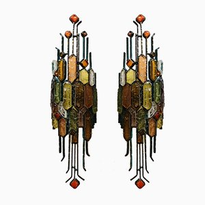 Large Brutalist Sconces from Poliarte, 1970s, Set of 2
