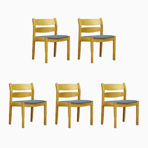 Vintage Danish Ash Veneer Dining Chairs by Kurt Østervig for FDB, Set of 5