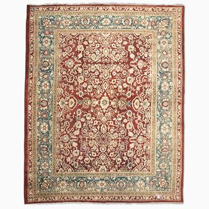 19th Century Red, Green & Beige Wool Agra Rug