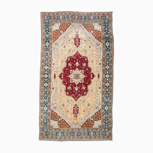 19th Century Red, Turquoise & Beige Wool Agra Rug