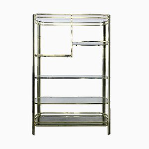 Italian Brass Shelving Unit by Romeo Rega, 1970s