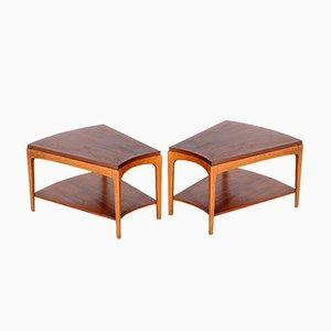 Walnut Asymetrical Side Tables from Lane, 1960s, Set of 2
