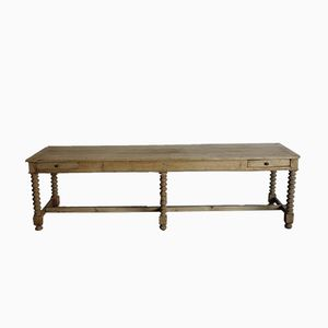 Antique Bleached Oak Console Table with Two Drawers
