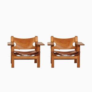Dänische Modell 2226 Leder und Eiche Stühle von Børge Mogensen für Fredericia, 1980er, 2er Set