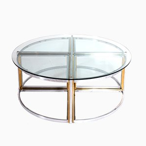 Vintage Round Coffee Table with Nesting Tables by Maison Charles