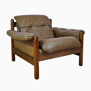 Mid-Century Norwegian Brown Leather Lounge Chair, 1970s
