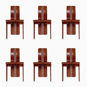 Italian Walnut Dining Chairs, 1980s, Set of 6