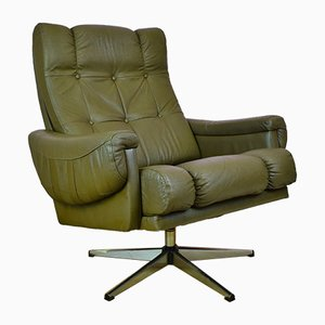 Mid-Century Brown Leather Swivel Lounge Chair, 1970s