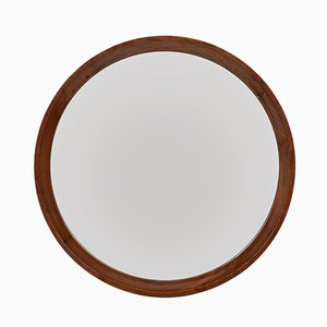Circular Wall Mirror with Walnut Frame, 1970s
