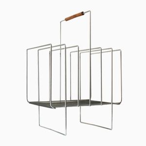 Mid-Century Chrome Plated Wire Magazine Rack, 1970s