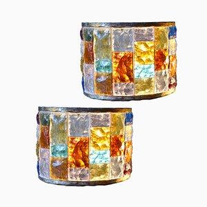 Applique vintage da parete in vetro colorato, set di 2
