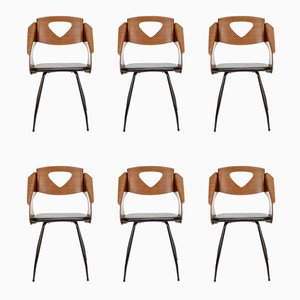 Chairs in Mahogany & Leather by Carlo Ratti for Industria Legni Curva, 1950s, Set of 6