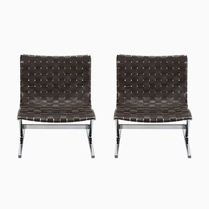 Model Luar Leather Side Chairs by Ross Littell for ICF, 1960s, Set of 2