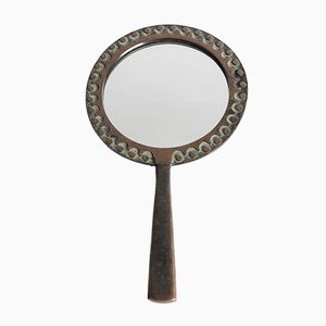 Espejo de mano húngaro de bronce de Ottó Kopcsányi, años 60
