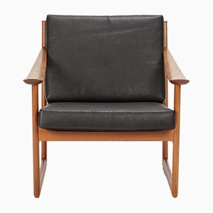 Teak & Leather Armchair by Hvidt & Molgaard-Nielsen for France & Søn, 1960s