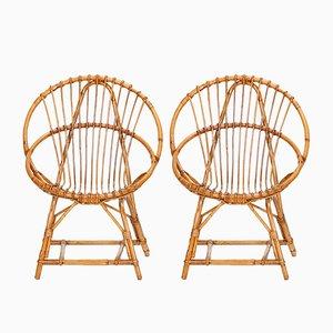 Rattan Gartenstühle von Rohé Noordwolde, 1950er, 2er Set