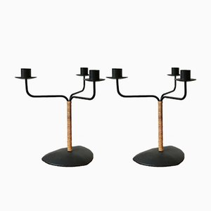Danish Metal & Cane Candle Holders from Laurids Lønborg, 1950s, Set of 2