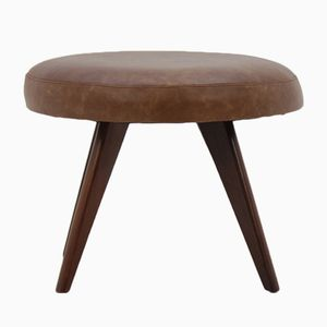 Mid-Century Danish Leather Stool, 1960s