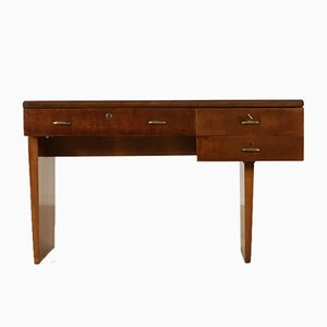 Italian Walnut Veneer & Brass Desk with Drawers, 1950s