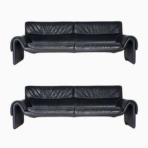 DS2011 Blue Leather Sofas from de Sede, 1980s, Set of 2