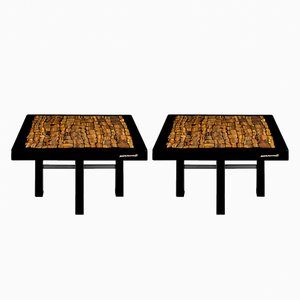 Resin & Tiger Eye Side Tables by Etienne Allemeersch, 1970s, Set of 2