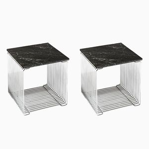 Wire Cube 152 Night Stands with Marble Top by Verner Panton for J. Lüber, 1970s, Set of 2