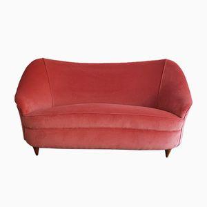 Italian Pink Velvet Sofa, 1940s