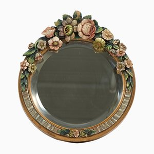 Vintage Beveled Barbola Mirror