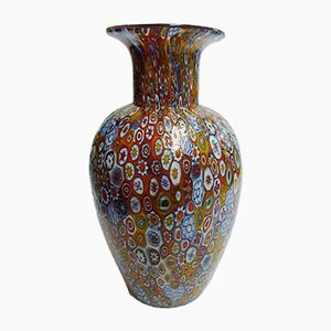 Italian Hand Blown Murano Glass & Murrine Vase, 1980s