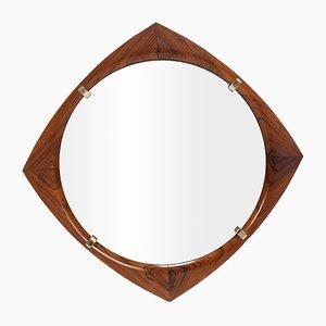 Rhombusförmiger Palisander Spiegel, 1960er