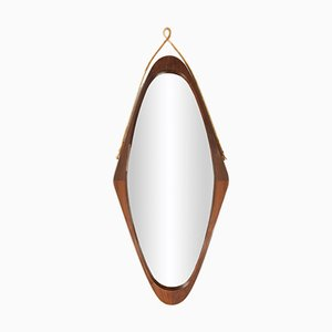 Oval Mahogany Mirror, 1960s