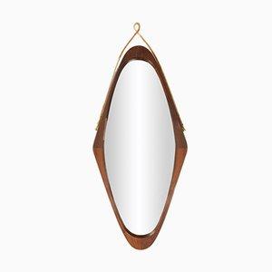 Ovaler Mahagoni Spiegel, 1960er
