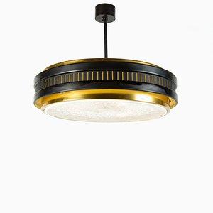 Französische Deckenlampe aus Messing, 1950er