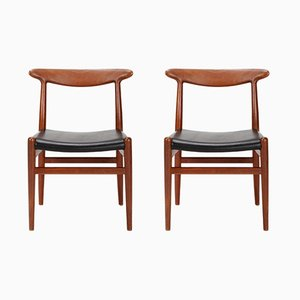 W1 Chairs in Teak by Hans Wegner for C. M. Madsen, 1950s, Set of 2