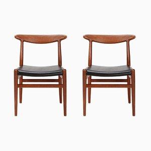 W1 Stühle aus Teak von Hans Wegner für C. M. Madsen, 1950er, 2er Set