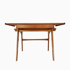Danish Vintage Desk with Oblique Top in Oak and Teak, 1960s