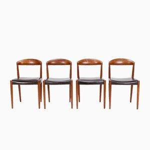 Chaises en Teck et Cuir par Knud Andersen, 1960s, Set de 4