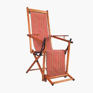 Antiker klappbarer Liegestuhl