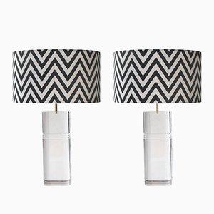 Durchsichtige Methacrylat Lampen mit Messing Details & handgefertigten Leuchten, 1970er, 2er Set