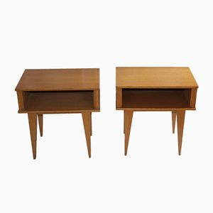 Rattan & Wood Nightstands, 1960s, Set of 2