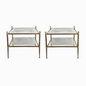 Vintage Glass & Brass Shelves, Set of 2