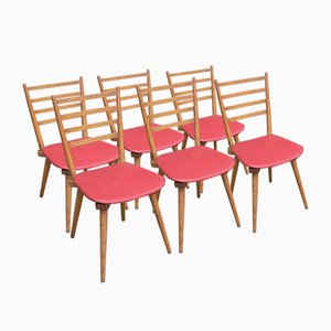 Vintage Red Skai Chairs, 1950s, Set of 6