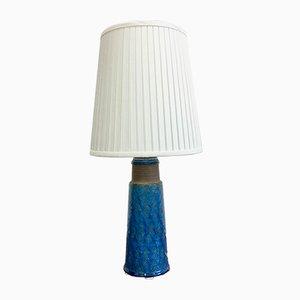 Große dänische Steingut Tischlampe mit türkisfarbener Glasur von Nils Kähler