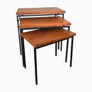 Vintage Satztische mit Teak Tischplatten