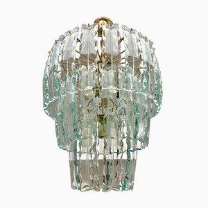 Vintage Murano Kristallglas Kronleuchter mit vergoldetem Rahmen