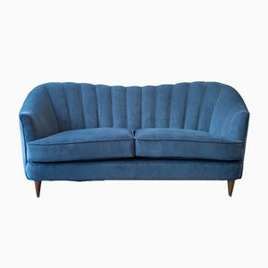 Französisches blaues Vintage Samt Sofa