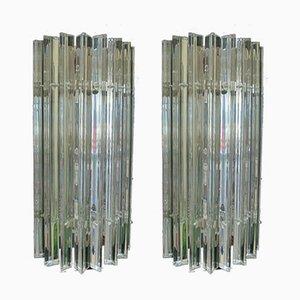 Applique da parete vintage con stecche in vetro di Murano, set di 2