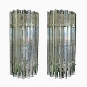 Vintage Murano Glass Sconce with Slatted Glass, Set of 2