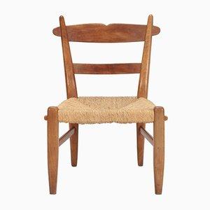 Chaise d'Appoint Vintage en Noyer et Corde, 1940s